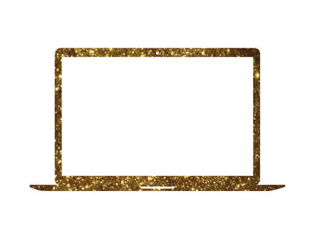 The vector golden glitter gold color flat laptop computer icon on white background