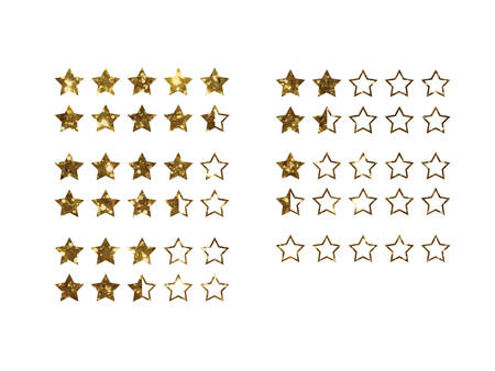 five star: The vector golden glitter of Online shopping review feedback five star rate icon set on white background Illustration