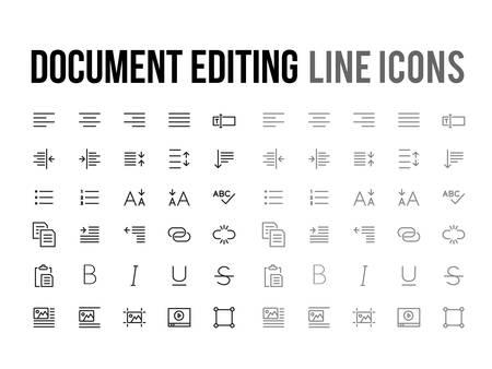 Document tekst bewerken vector lijn pictogram voor de app, mobiele website responsief