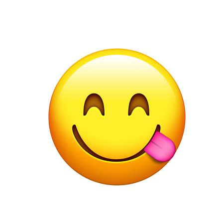 고립 된 노란색 스마일리와 음식을 맛보기 혀 밖으로 아이콘 얼굴