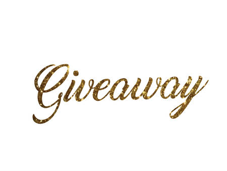 The golden glitter of isolated hand writing word Giveaway on white background