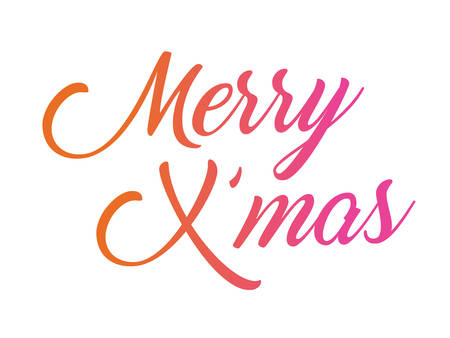 The colorful gradient isolated hand writing word Merry Christmas.