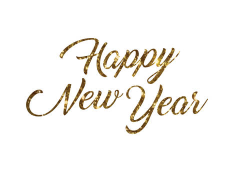 Golden glitter isolated hand writing word Happy New Year on white background. Stock Illustratie