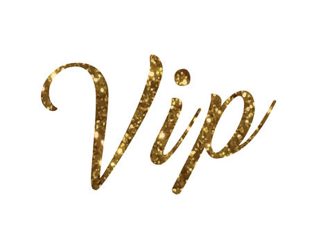 The golden glitter of isolated hand writing word VIP on white background