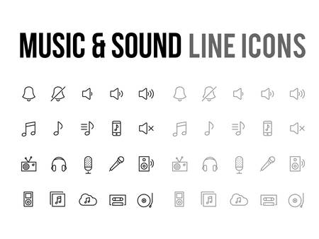 Music & sound vector line icon for the app, mobile website responsive Vetores
