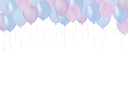 Isolated pastel color in blue and purple pastic balloons