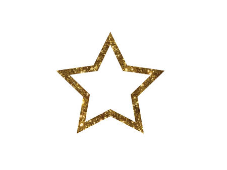 rate: The vector golden glitter review star icon on white background