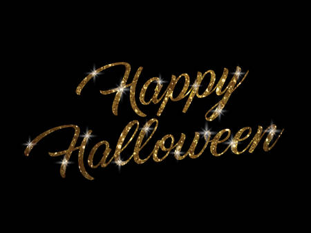 keyword: The golden glitter isolated hand writing word HAPPY HALLOWEEN on black blackground