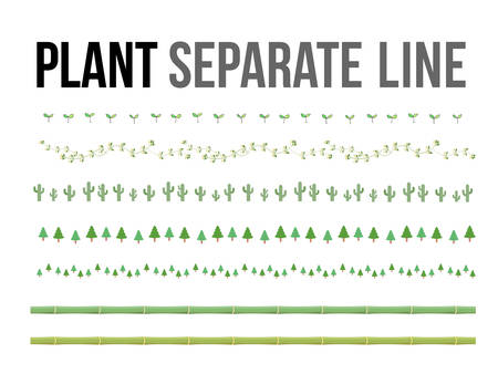 Vector green plant separate line for design layout component