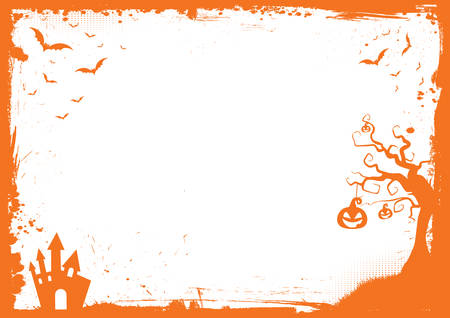 Horizontal Halloween orange element border and background template Illustration