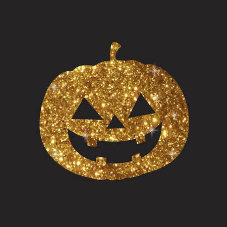 Golden glitter silhouette Halloween holiday design element pumpkin flat icon