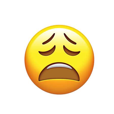 The emoji sad, unhappy and feeling depressed yellow face icon 版權商用圖片