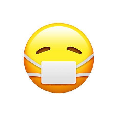 The emoji yellow sick and uncomfortable face with wearing white mouth mask icon Stock Photo
