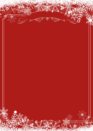 A4 size vertical Cafe menu - Winter snowflake retro border and Christmas red background background