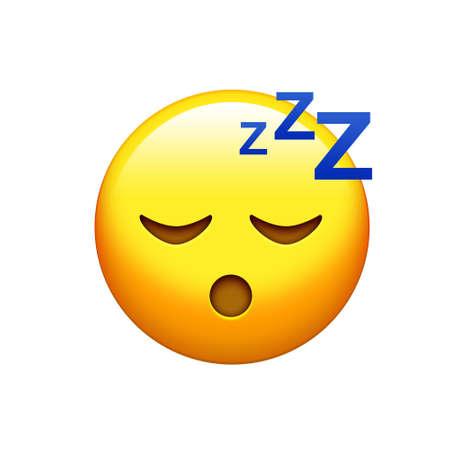 目のアイコンを閉じ孤立した黄色の眠そうな顔 写真素材