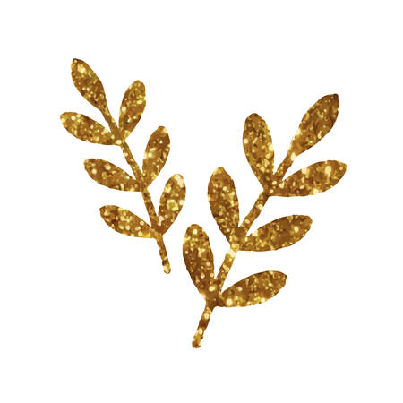 The isolated  golden glitter retro plant leaf deocration flat icon Illustration