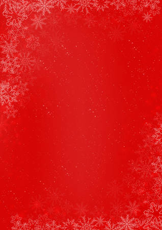 A3 international size - Winter Christmas red paper background with snowflake border Illustration