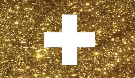 Der Vektor golden Luxury Glitter Schweizer Schweiz Landesflaggenikone Standard-Bild - 83439893