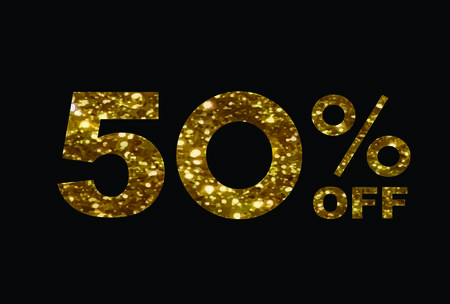The vector luxury golden glitter fifty percent discount word text on black background