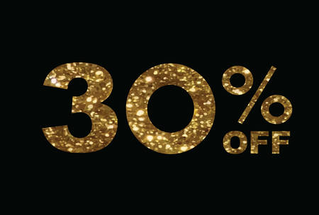 The vector luxury golden glitter thirty percent off special discount word text on black background