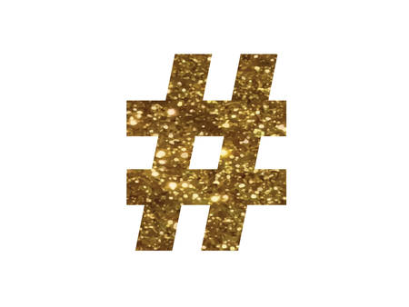 The golden glitter of isolated hand writing word HASHTAG symbol on black blackground Illustration