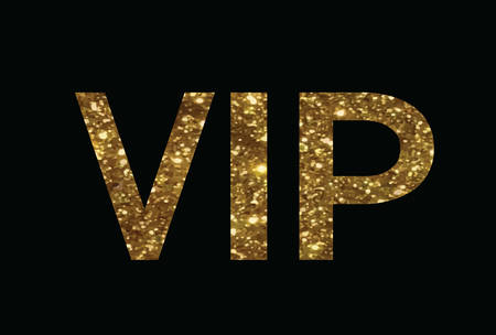 keywords backdrop: The golden glitter of isolated hand writing word VIP on white background