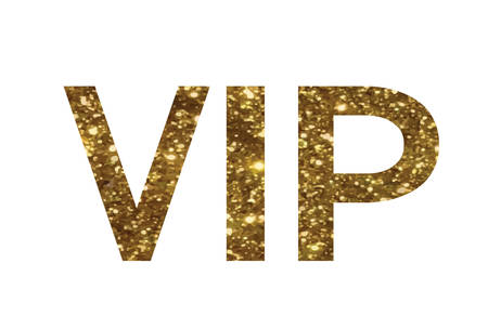 keywords: The golden glitter of isolated hand writing word VIP on white background