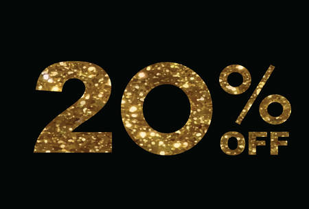 The vector luxury golden glitter twenty percent off special discount word text on black background