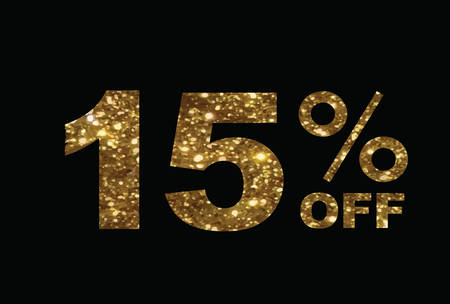 The vector luxury golden glitter fifteen percent off special discount word text