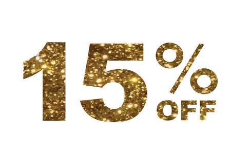 Le vecteur de luxe paillettes dorées quinze pour cent de réduction spéciale texte de mot Banque d'images - 83747791