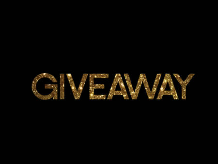 The golden glitter of isolated hand writing word GIVEAWAY on black background