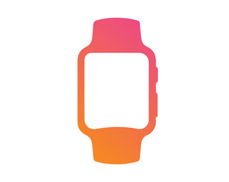 The vector gradient pink to orange flat smart watch icon Illustration