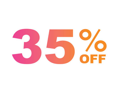The vector gradient pink to orange thirty five percent discount word text