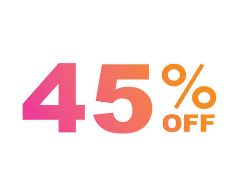 The vector gradient pink to orange forty five percent discount word text