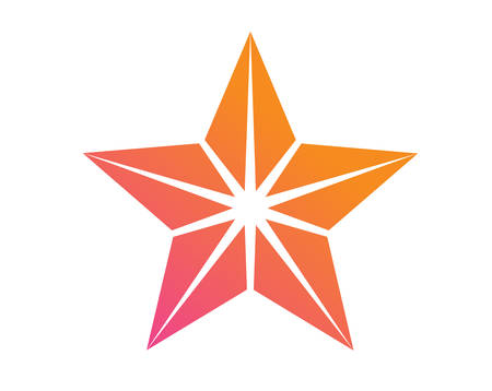 The colorful gradient pink to orange review star icon