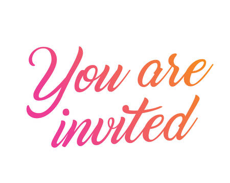 The colorful gradient wedding hand writing word YOU ARE INVITED Illustration