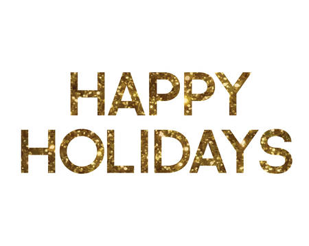 The Golden glitter isolated standard font word HAPPY HOLIDAYS 矢量图像
