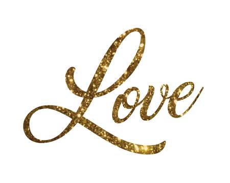 De Gouden schitteren van geïsoleerde hand het schrijven woordliefde