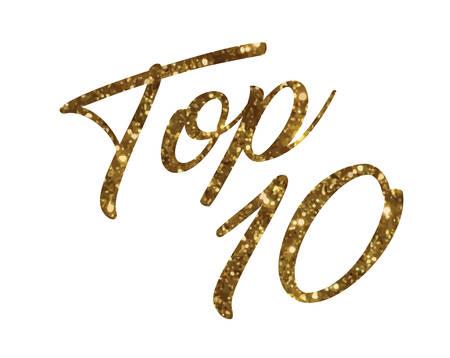 El gradiente de oro aislado mano escribir palabra clasificación TOP DIEZ