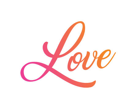The gradient pink to orange isolated hand writing word LOVE