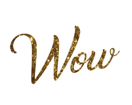 The glitter golden isolated hand writing word WOW Illustration