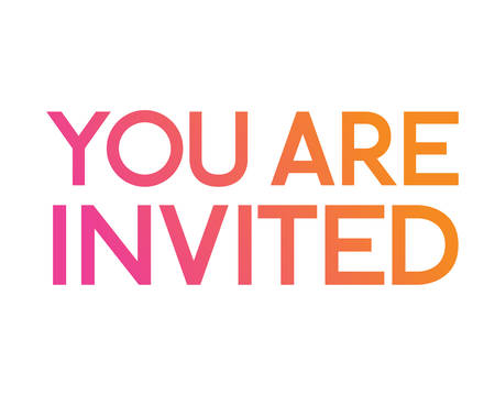 The gradient pink to orange isolated standard serif font word YOU ARE INVITED