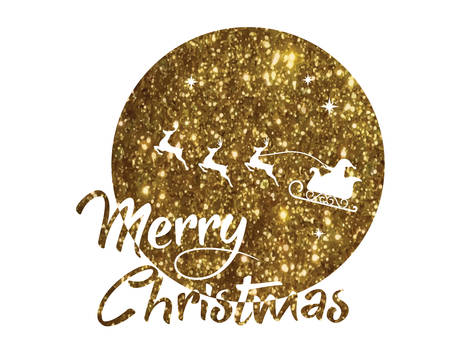 vector golden glitter Santa Claus, reindeer and moon poster with Merry Christmas word