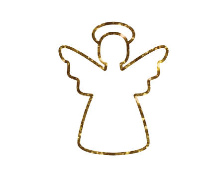 Isolated vector golden glitter Christmas angel line icon