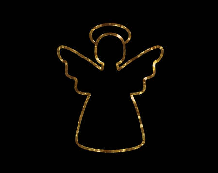 svg: Isolated vector golden glitter Christmas angel line icon