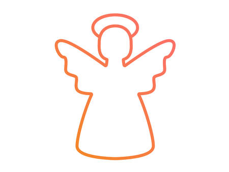 Isolated vector colorful gradient pink to orange Christmas angel line icon