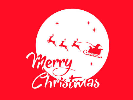 svg: vector Red Santa Claus, reindeer and moon poster with Merry Christmas greeting card
