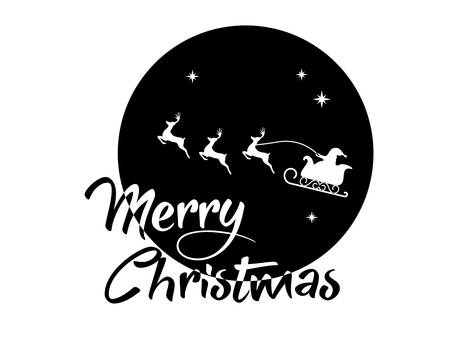 vector Santa Claus, reindeer and moon poster with Merry Christmas word