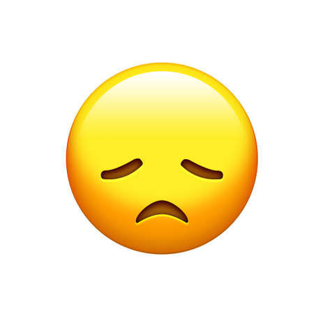 The emoji yellow disappointed, upset face and closing eyes icon