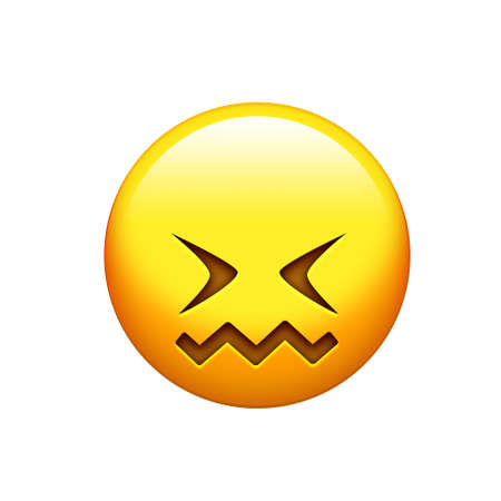 The emoji yellow doh, upset face and closing eyes icon